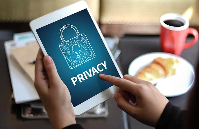 picture of tablet with the word privacy to represent article about the GDPR law