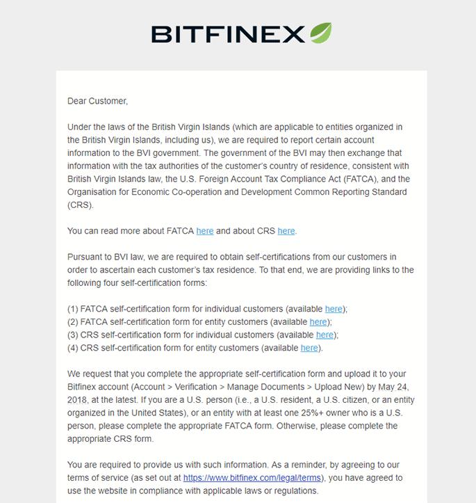 Bitfinex Tax Issue