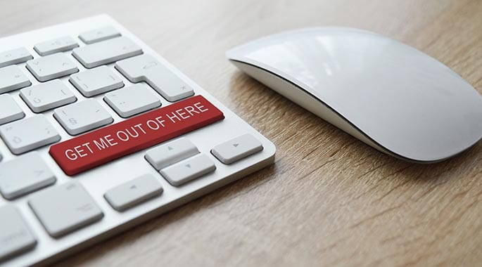 picture of computer keyboard that says get me out of here to accompany blog post about an FTC scam bust of online marketing company