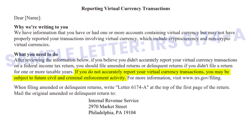 IRS 6174-A - IRS Cryptocurrency Letter - Soft Warning